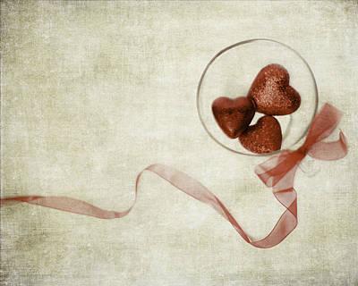 Heart Trio Print by Rebecca Cozart