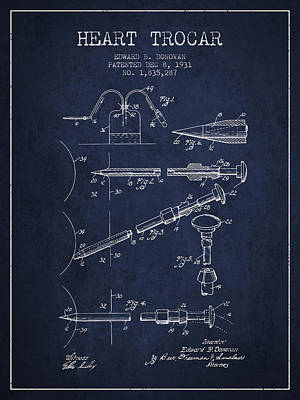 Surgery Drawing - Heart Trocar Patent From 1931 - Navy Blue by Aged Pixel