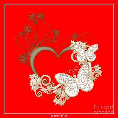 Hearts Digital Art - Heart With Butterflies And Flowers by Rose Santuci-Sofranko