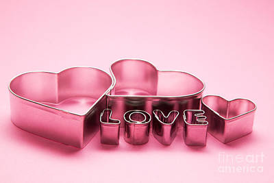 Color Photograph - Hearts And Love Letters Text On Pink Background by Michal Bednarek