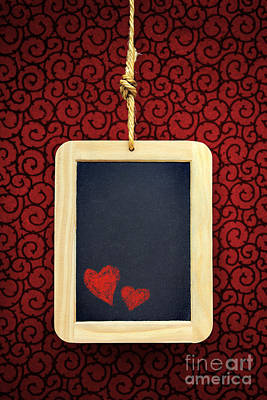 Hearts In Slate Print by Carlos Caetano