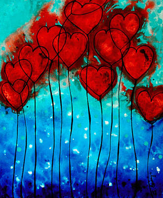 Aqua Painting - Hearts On Fire - Romantic Art By Sharon Cummings by Sharon Cummings