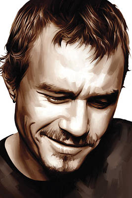 Heath Ledger Painting - Heath Ledger Artwork by Sheraz A