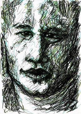 Heath Ledger Drawing - Heath Ledger - Green by Rachel Scott