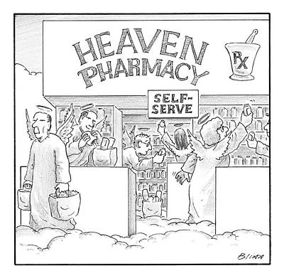 Angels Drawing - Heaven Pharmacy Features Angels Loading by Harry Bliss