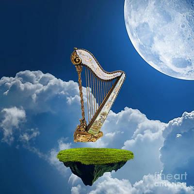 Fantasy Mixed Media - Heavenly Harp by Marvin Blaine