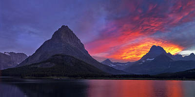 Many Glacier Photograph - Heaven's Ablaze by Andrew Soundarajan