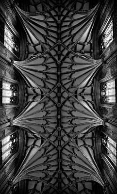 Heavenward -- Winchester Cathedral Ceiling In Black And White Print by Stephen Stookey