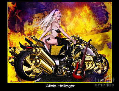 Woman Digital Art - Heavy Metal Motorcycle Rock Babe by Alicia Hollinger