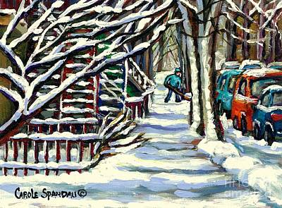 Montreal Memories Painting - Heavy Snow Blue Shadows Under Winter Trees Verdun Shovelling Out Canadian Art Best Montreal Painting by Carole Spandau