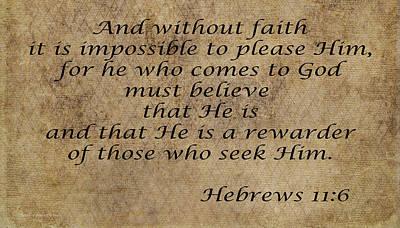 Christian Artwork Digital Art - Hebrews 11 Verse 6 by Barbara Dalton