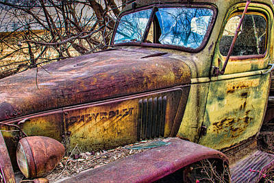 Hedge Row Chevy Truck Print by Steven Bateson