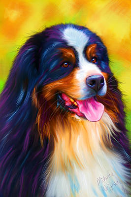 Colorful Bernese Mountain Dog Painting Print by Michelle Wrighton