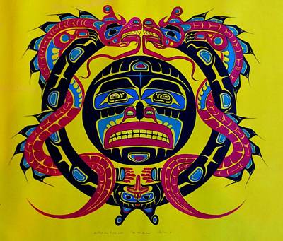 First Tribes Painting - Heiltsuk Sea Wolves And Sun by Fred Anderson jr