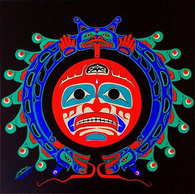 First Tribes Painting - Heiltsuk Sisiulth And Sun Spiritual Balance by Fred Anderson jr