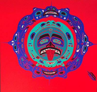 Balance In Life Painting - Heiltsuk Sun Four Bears by Fred Anderson jr