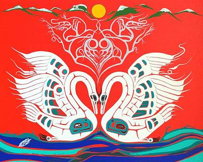 First Tribes Painting - Heiltsuk Swans Love Is A Spirit by Fred Anderson jr