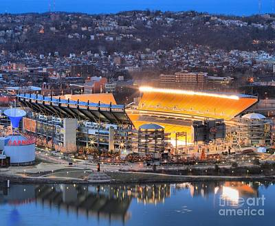 Reflections In River Photograph - Heinz Field At Night by Adam Jewell