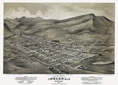 Watch Tower Photograph - Helena Montana Map  1875 by Daniel Hagerman