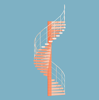 Minimalist Digital Art - Helical Stairs by Peter Cassidy
