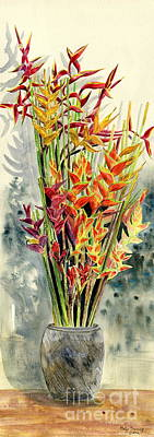 Heliconia Painting - Heliconia Bouquet by Melly Terpening