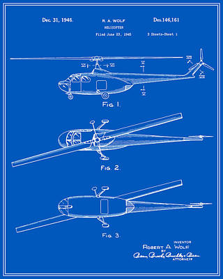 Helicopter Digital Art - Helicopter Patent - Blueprint by Finlay McNevin