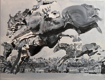 Steeplechase Race Painting - Helios by Denise Boineau