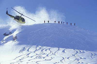 Skiing Action Photograph - Heliskiing, Whistler, Bc, Canada by Insight Photography