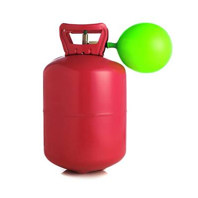Helium Gas Cylinder And Balloon Print by Science Photo Library