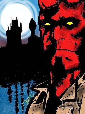 Hellboy Digital Art - Hellboy by Tommy Villarreal