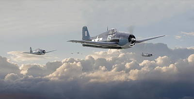 Us Navy Digital Art - Hellcat F6f - Combat Air Patrol by Pat Speirs