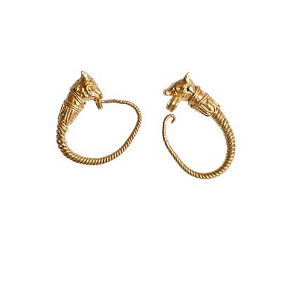 Hellenistic Gold Earrings Print by Science Photo Library