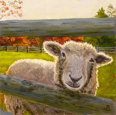 Sheep Painting - Hello by Joe Bergholm