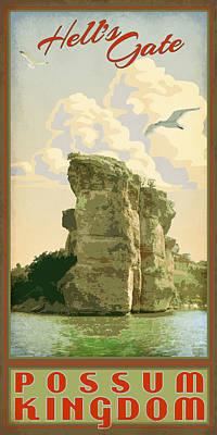 Possum Digital Art - Hell's Gate Possum Kingdom Lake by Jim Sanders