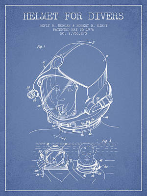 Diving Helmet Drawing - Helmet For Divers Patent From 1976 - Light Blue by Aged Pixel