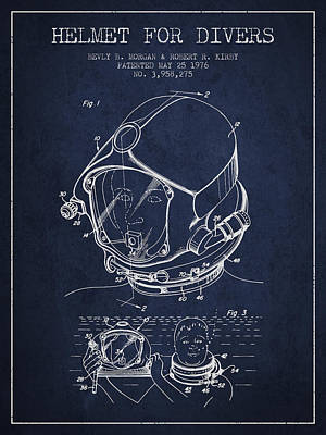 Diving Helmet Drawing - Helmet For Divers Patent From 1976 - Navy Blue by Aged Pixel