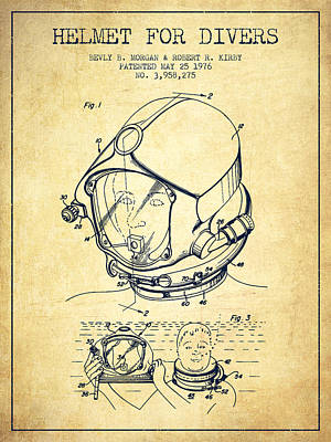 Diving Helmet Drawing - Helmet For Divers Patent From 1976 - Vintage by Aged Pixel