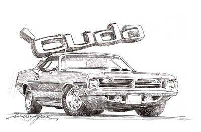 Automobile Drawing - Hemi Cuda Power by David Lloyd Glover