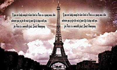 Eiffel Tower Mixed Media - Hemingway And Paris by Dan Sproul