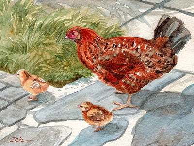 Hens And Chicks Painting - Hen And Chicks by Janet  Zeh