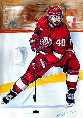Nhl Winter Classic Painting - Henrik Zetterberg Of The Detroit Red Wings by Dave Olsen