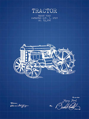 Henry Ford Tractor Patent  From 1919 - Blueprint Print by Aged Pixel