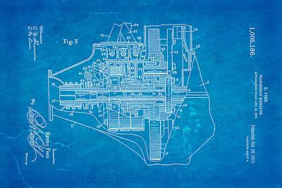 Henry Ford Transmission Mechanism Patent Art 2 1911 Blueprint Print by Ian Monk