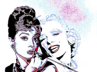 Audrey Hepburn Digital Art - Hepburn And Monroe 20130331 by Wingsdomain Art and Photography