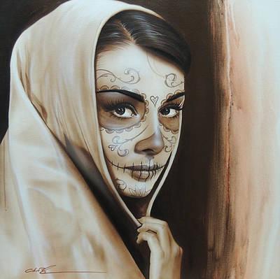 Audrey Hepburn - ' Hepburn De Los Muertos ' Print by Christian Chapman Art