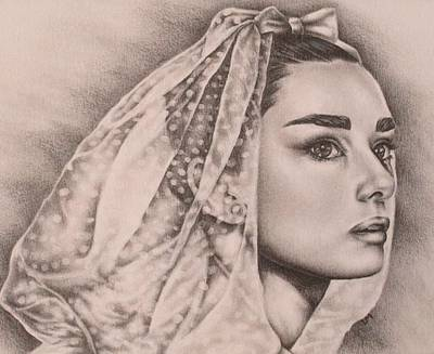Audrey Hepburn Drawing - Hepburn The Bride by Lisa Marie Szkolnik