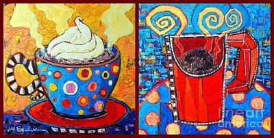 Dining Room Italian Painting - Her And His Coffee Cups by Ana Maria Edulescu