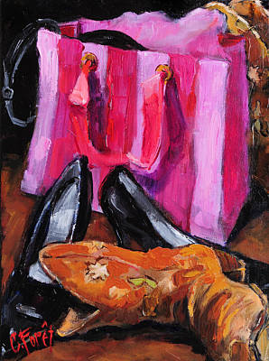 Cowboy Boots Painting - Her Closet by Carole Foret