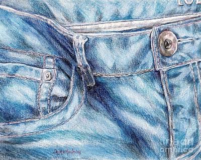 Denim Drawing - Her Favorite Pair Of Jeans by Shana Rowe Jackson