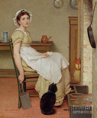 Cats. Victorian Painting - Her First Place by George Dunlop Leslie